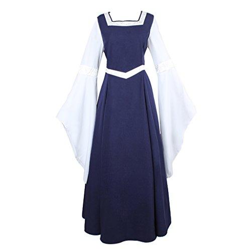 Médiévale Trompette Costume Et De Robe Victorienne Manches Blanc Deguisement Cosplayitem Bleu A50gqxE