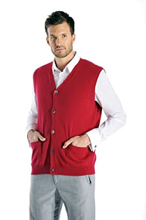 Men's Cashmere Sleeveless Cardigan Vest at Amazon Men's Clothing ...