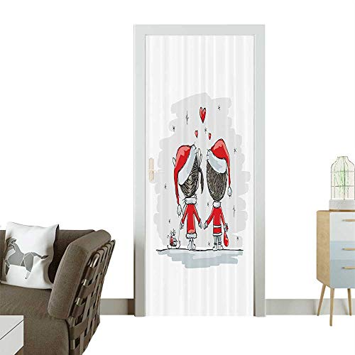Door Sticker Soul Mates Love Couples with Santa Costumes mily Romance Winter Night Removable Door Decal for Home DecorW23.6 x H78.7 -
