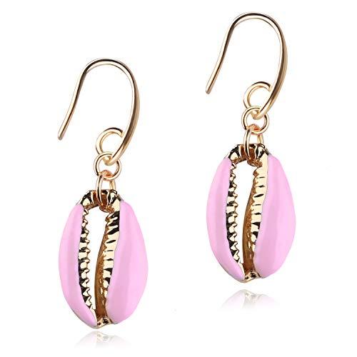 - KELITCH Gold Lips Cowry Dangle Earrings Colorful Drop Earrings Seashell Women Statement Earrings Jewelry (Pink)