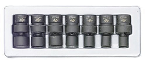 Sunex 3654 3/8-Inch Drive Standard Fractional Universal Impact Socket Set, SAE, 6-Point, Cr-Mo, 3/8-Inch - 3/4-Inch, - Sae Socket Universal