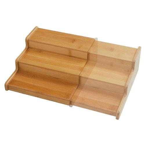 Seville Classics 3-Tier Expandable Bamboo Spice Rack Step Shelf Cabinet Organizer
