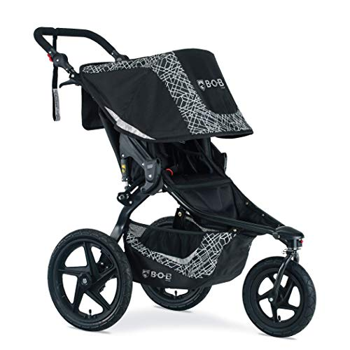 BOB Gear Revolution Flex 3.0 Jogging Stroller in Lunar Black Reflective Fabric | Smooth Ride Suspension + Easy Fold + Adjustable Handlebar [New Logo]