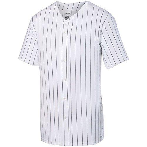 - Augusta Sports Youth Pinstripe Full Button Baseball Jersey, White/Black, Large