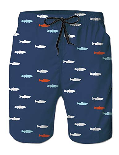 Fish Trunks - Leapparel Male Quick Dry Fish Graphic Short Swim Trunks with Mesh Lining Navy Blue Colorful Fish Knee Length Big and Tall Mens Hawaiian Quick Dry Bathing Suits Board Shorts with Mesh Lining L