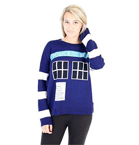 (Doctor Who TARDIS Women's Navy Knitted Sweater (Juniors)