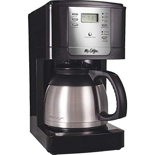 Mr. Coffee Advanced Brew 8-Cup Programmable Coffee Maker with Thermal Carafe, Black/Chrome (Carafe Unbreakable Thermal Steel Stainless)