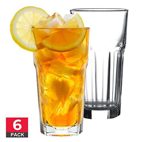 Drinking Highball Glasses Set, Premium Quality Glass Tumbler, Clear Glass, 12 ¼ oz, 6 Piece Glassware ()