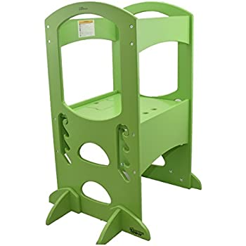 Learning Tower Kids Adjustable Height Kitchen Step Stool With Safety Rail  (Apple Green) U2013