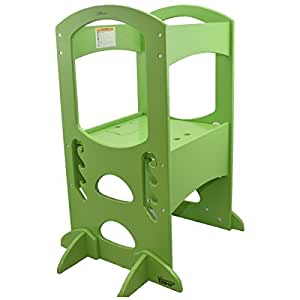 Learning Tower Kids Adjustable Height Kitchen Step Stool with Safety Rail (Apple Green) – Wood Construction, Perfect for Toddlers – Quality Learning Furniture from Little Partners