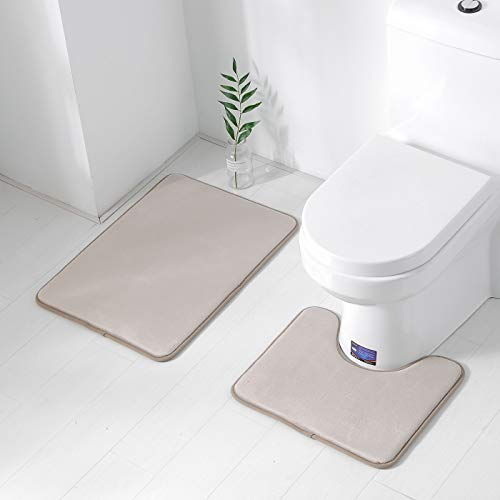 Famitile Non Slip Memory Foam Bath Mat 2 Piece Set,U-Shaped Absorbent Machine Wash Soft Bathroom Rugs for Bathroom Sink Toilet(Beige,27.5