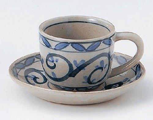 KARAKUSA 2.9inches Set of 2 Cups & SaucersJiki Japanese Original Porcelain