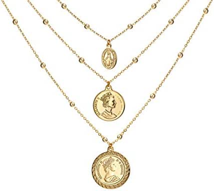 Coin Pendant Necklace 18K Gold Plated Canadian Coin (Front and Back Different Prints) Station Chain Stylish Vintage Layered Necklace for Women Jewelry
