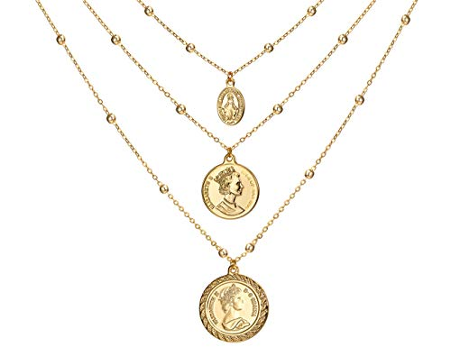 - Coin Pendant Necklace 18K Gold Plated Canadian Coin Elizabeth II Station Chain Coin Vintage Layered Necklace for Women Jewelry
