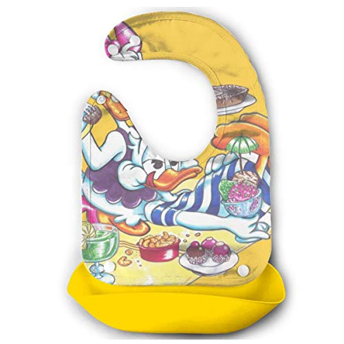 Baby Bib Donald and Daisy Duck Holiday Waterproof Feeding Bibs for Babies and Toddlers with Comfort-Fit Fabric Neck Yellow