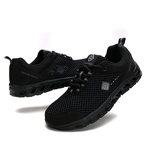 TRAUM-PAAR-Männer 160712 Sommer-Maschen-leichte flexible athletische einfache gehende Sport-Wasser-Schwimmen-Schuhe All-schwarz-2