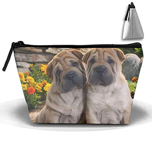 Travel Toiletry Pouch Shar Pei Bro Makeup Organizer Clutch Bag with Zipper