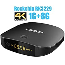 T95D Android TV Box with Android 6.0 Rockchip RK3229 Quad-Core 1GB RAM/8GB ROM Media Player support Ultra HD 4k*2k Outpu 2.4GHz Wi-Fi 100M LAN HDMI