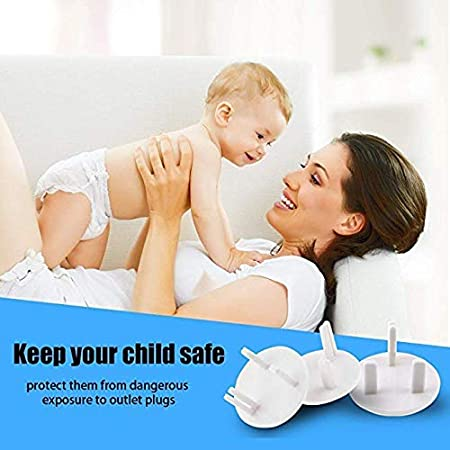 Baby Proofing Plug Covers,White Outlet Covers Safety Socket Covers Protectors Child Proof Electrical Protectors for Child Baby Home and School 10 Pack,Boxed