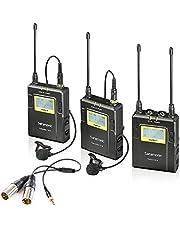 Saramonic Lavalier Microfoonsysteem camera UWMIC9 RX9 + TX9 + TX9, 96-kanaals microfoonset digitale UHF Wireless Dual Draadloze microfoon opsteekmicrofoon zender ontvanger 514-596 MHz voor DSLR