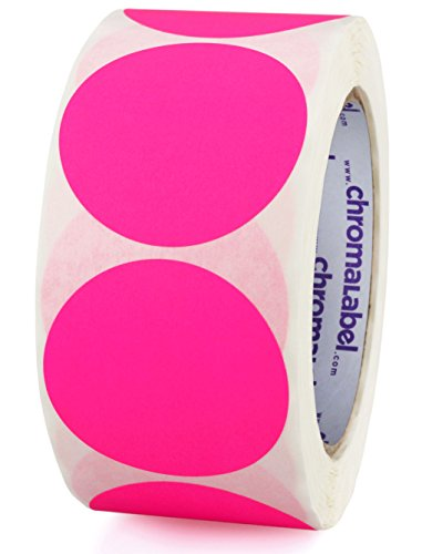 ChromaLabel 2 inch Color-Code Dot Labels | 500/Roll (Fluorescent Pink) -