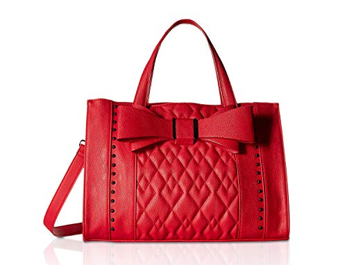 - Betsey Johnson Women's Quilted Bow Satchel Red One Size