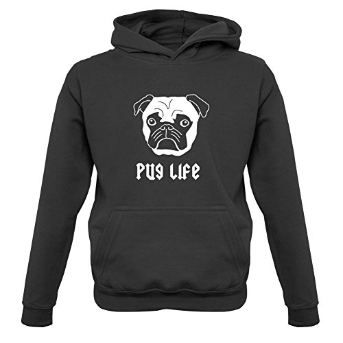 Hoodie Pug (Pug Life - Kids Hoodie - Black - XL (9-11 YRS))