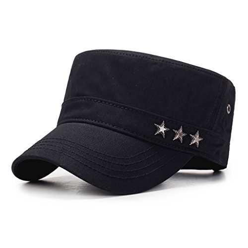 Men's Cotton Twill Cadet Cap Sun Protection Adjustable Military Style Hat with Stars Detailing (Black)