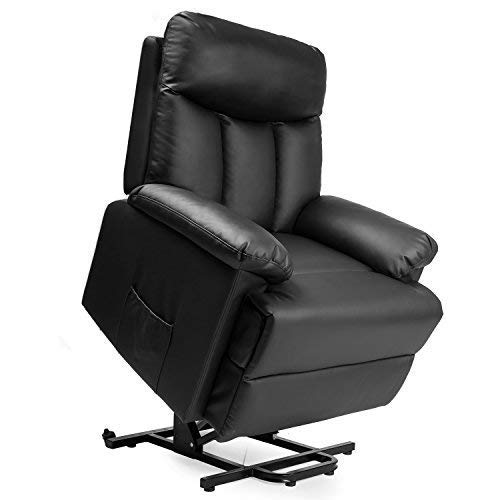 Electric Lift Chair Recliner Infinite Position,JULYOFX 350 LB Heavy Duty PU Leather Lift Recliner Sofa Chair Lifts You Up W/ 2 Button Remote Stand Up Lift Chair W/Storage Metal Frame High Back-Black ()