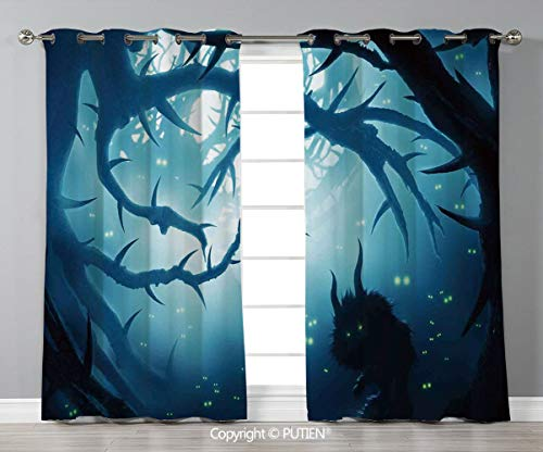 Grommet Blackout Window Curtains Drapes [ Mystic House Decor,Animal with Burning Eyes in Dark Forest at Night Horror Halloween Illustration,Navy White ] for Living Room Bedroom Dorm Room Classroom Kit -
