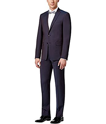 Calvin Klein Extra Slim Fit Wine Wool Peak Lapel 2 Piece Men's Suit
