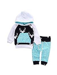 Sumen Baby Boy Girl Deer Arrow Hoodie Tops Pants Outfits Clothes Set