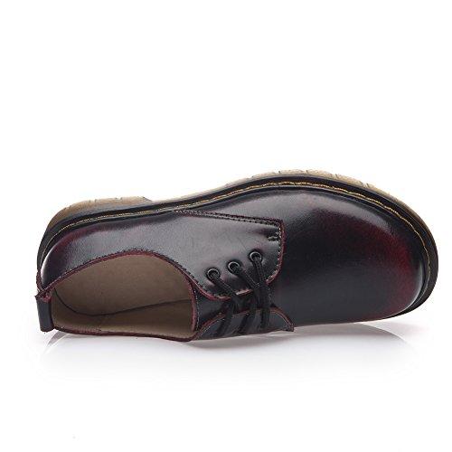 Top Shenn Lacets Robe Oxfords Round Femme à de Low Ville Cuir Toe Chaussures Vin Rétro Rouge Formelle rf6qrEB