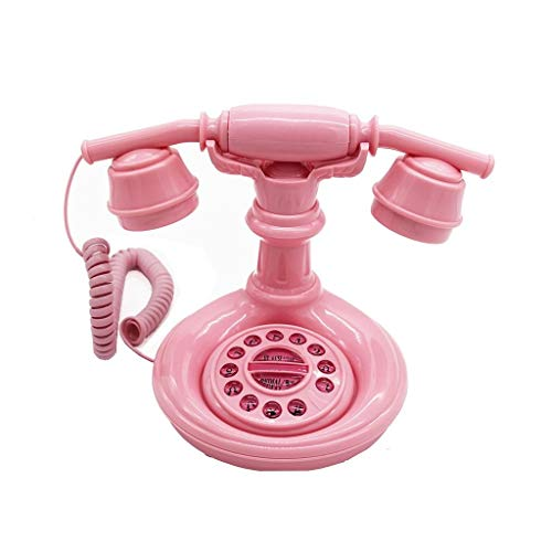 DEERYEO Creative Fashion Vintage Antique Pink Cute Princess Phone with Rope landline Telephone Decorative Ornaments Powder (Small Plastic Injection Molding Machine For Sale)