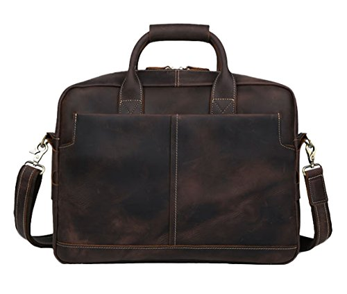 Insun - Bolsa hombre Coffee Crazy Horse Leather