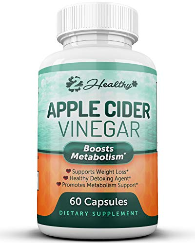 100% Pure Apple Cider Vinegar Capsules with Mother - ACV Pills for Weight Loss, Detox, Keto Diet, Digestion - Natural Raw AppleCider for Women & Men, Appetite Suppressant Fat Burner, 60 Tablets ()