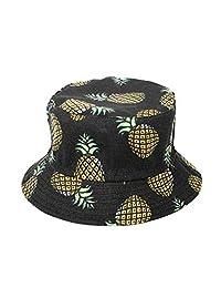 Zonsaoja Unisex Bucket Hat Reversible Pineapple Hawaii Fisherman Travel