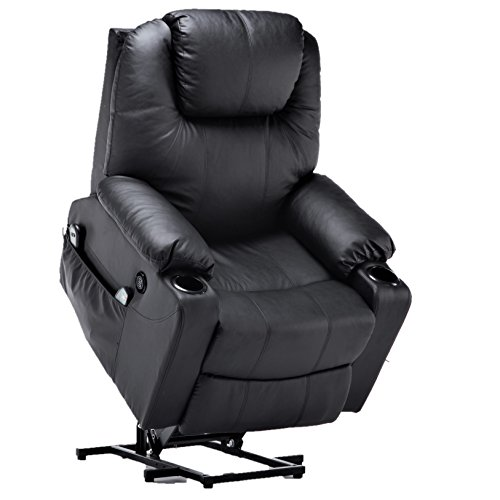 Electric Power Lift Chair Massage Sofa Recliner Heated Chair Lounge w/Remote Control Dual USB Charging Ports 7040 (Black) (Chair Massage Heated)