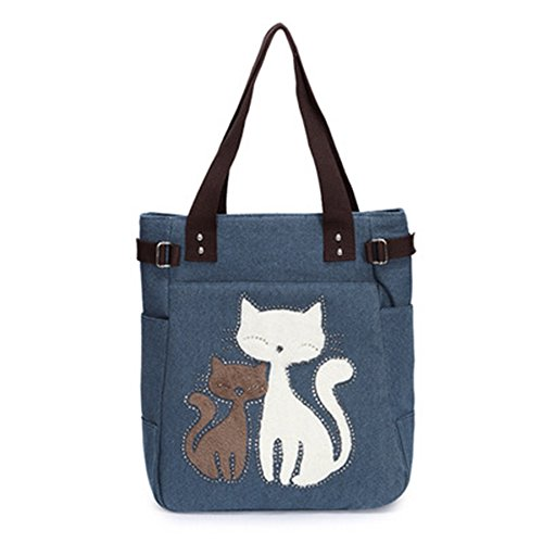 Lunch Multifunction Tote Bag Design Handbag Canvas Dark Cute Cat Women Vitage Shoulder Blue wBF8qWX