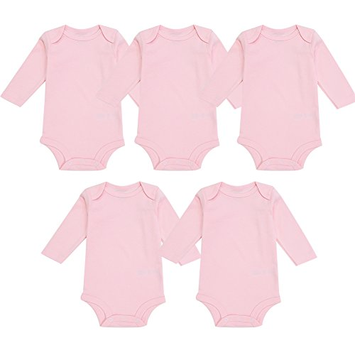 (Enfants Chéris 5-Pack Newborn Baby Girls Onesies Cotton Long Sleeve Bodysuit, (Pink, 3-Months))