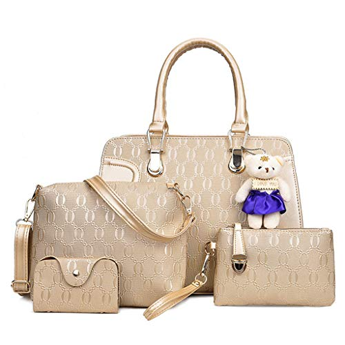 Clutch Hombro Messenger Oso Lindo Colgante Oro Bag Unids Kintrade Gold Cuero De Bolso Mujeres set 4 YOxzPFqp