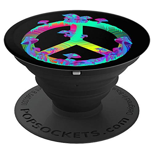 (Magic Mushrooms Peace Sign Psychedelic Retro Shrooms Black - PopSockets Grip and Stand for Phones and Tablets)
