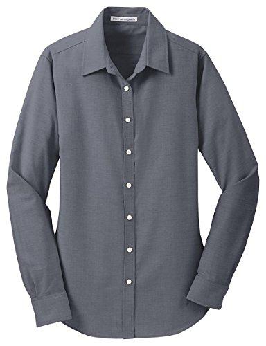 Port Authority Womens SuperPro Oxford Shirt (L658) -BLACK -M