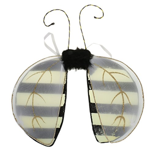 Prettyia Honey Bee Wings with Antenna Costume & Ladybird Wings for Fancy Dress - Bumblebee, as described