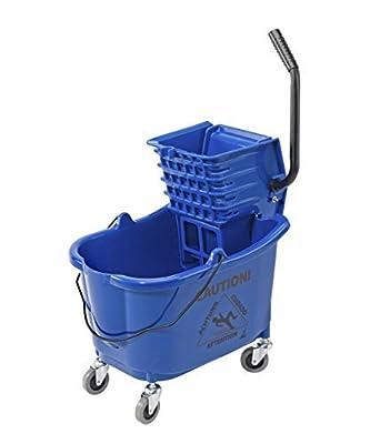Janico Inc Mop Bucket Side Press Wringer Combo, 35 Quart 8.5 Gallon, Blue, 3 Inch Non Marking Metal Casters (35 Quart, Blue)