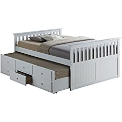 Broyhill Kids Marco Island Full Captain's Bed with Trundle, White Full-Sized Bed with Twin-Sized Trundle, Bunk Bed Alternative, Great for Sleepovers, Underbed Storage/Organization