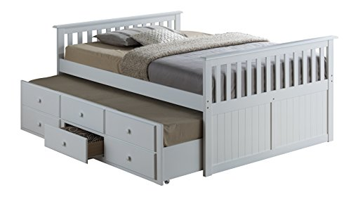 Broyhill Kids Marco Island Full Captain's Bed with Trundle, White Full-Sized Bed with Twin-Sized Trundle, Bunk Bed Alternative, Great for Sleepovers, Underbed Storage/Organization (And Loft Trundle Bed)