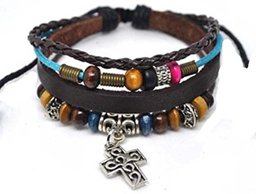 4030063 Christian Religious Scripture Inspirational Cross Leather Bracelet (Wood Cross Bracelet)