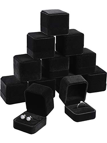 Zhanmai 12 Pieces Velvet Ring Earring Box Gift Jewelry Case Gift Boxes for Wedding, Engagement, Birthday and Anniversary, Black