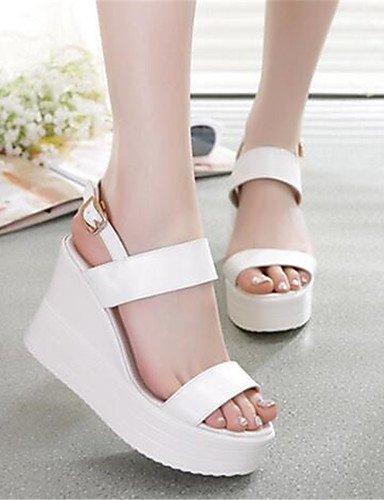 GGX  Damenschuhe-High Heels-Lässig-PU-Blockabsatz-Absätze-Schwarz     Weiß 93e2a5